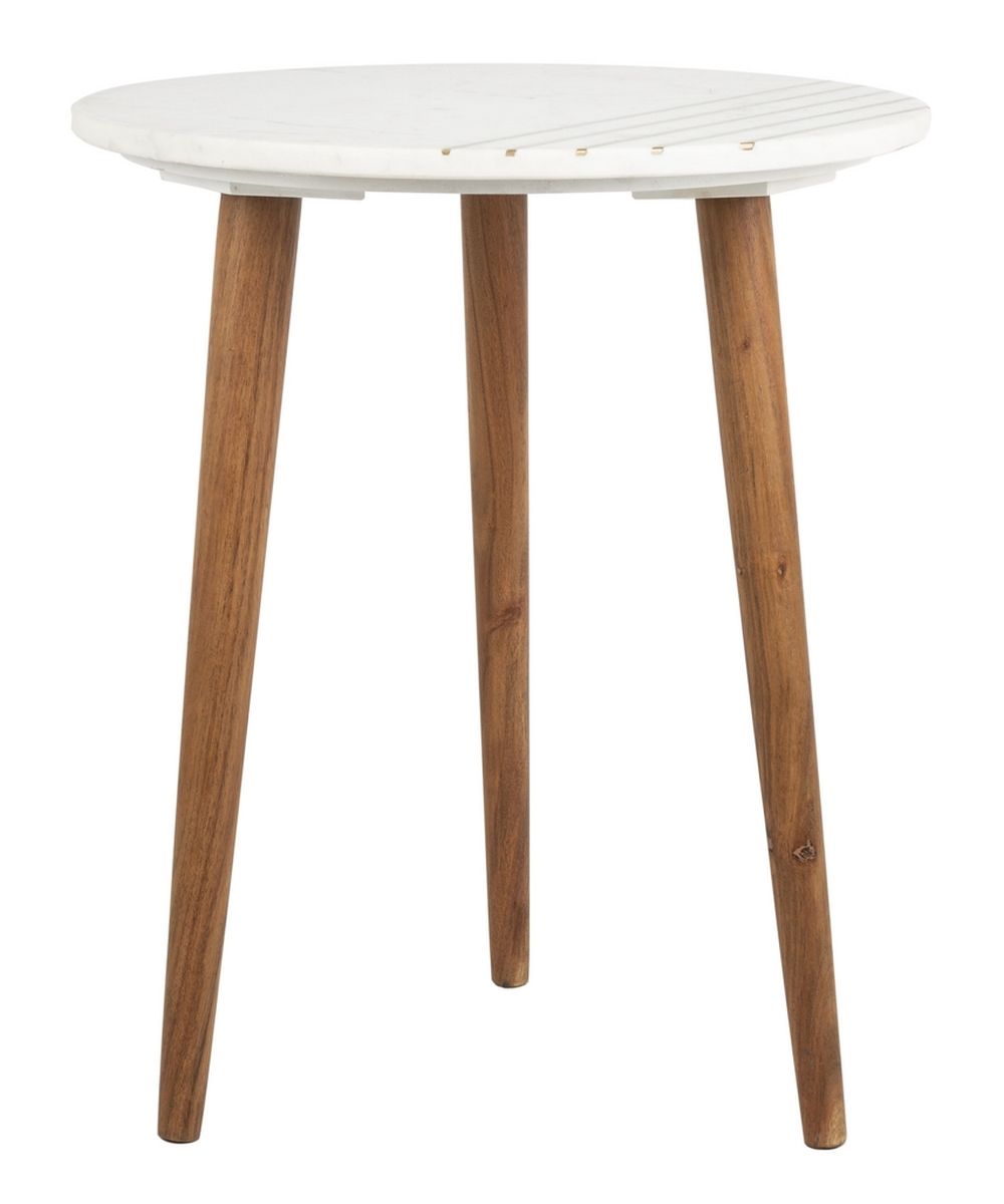 Accent table updates any living room or bedroom designed to highlight its contemporary blend of materials a sculpted design showcases its white marble