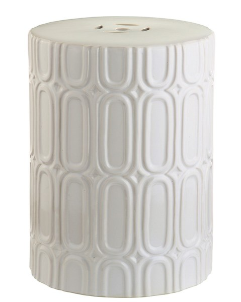 Crafted Of Glazed Ceramic With Repeating Oblong Motif This Stool Easily Doubles As A Side Table Beside Chair Or Loveseat