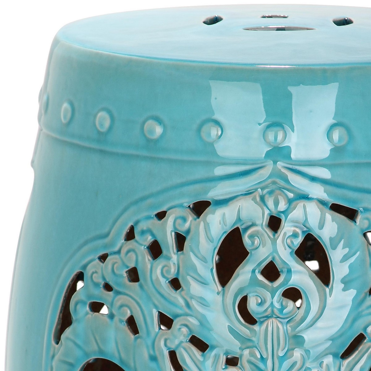 Exquisitely Crafted, The Flora Indoor Outdoor Ceramic Garden Stool In Light  Blue Features A Pierced Leaf Medallion Motif Of Asian Inspiration.