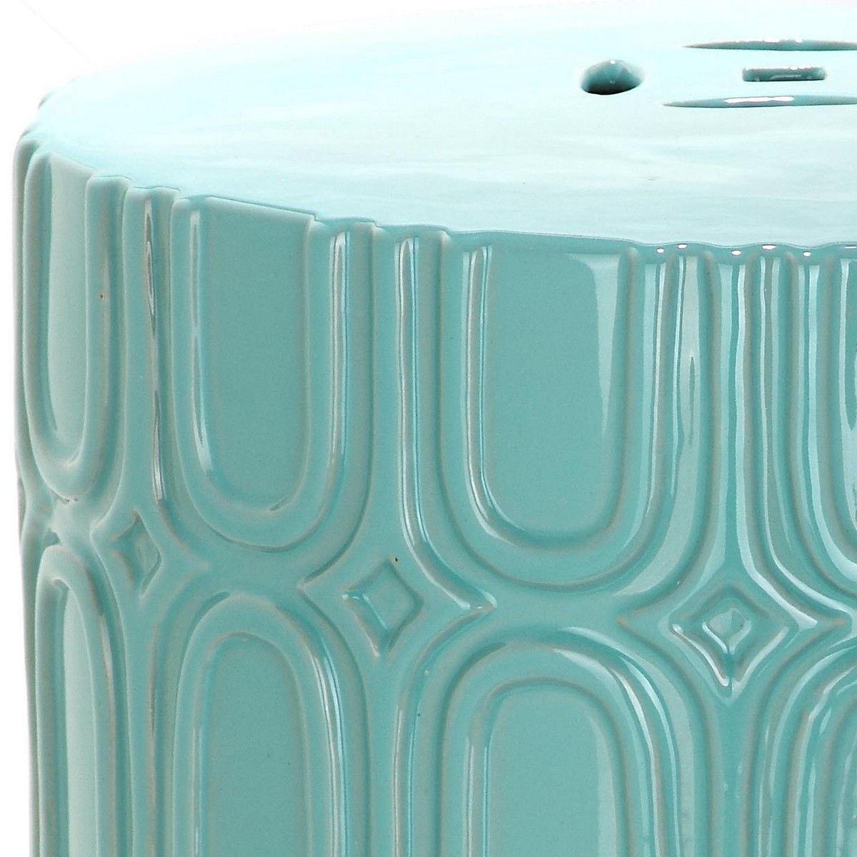 Pretty And Practical, The Light Blue Melody Garden Stool Adds Transitional  Elan To Any Room Indoors Or Out. Crafted Of Glazed Ceramic With Repeating  Oblong ...