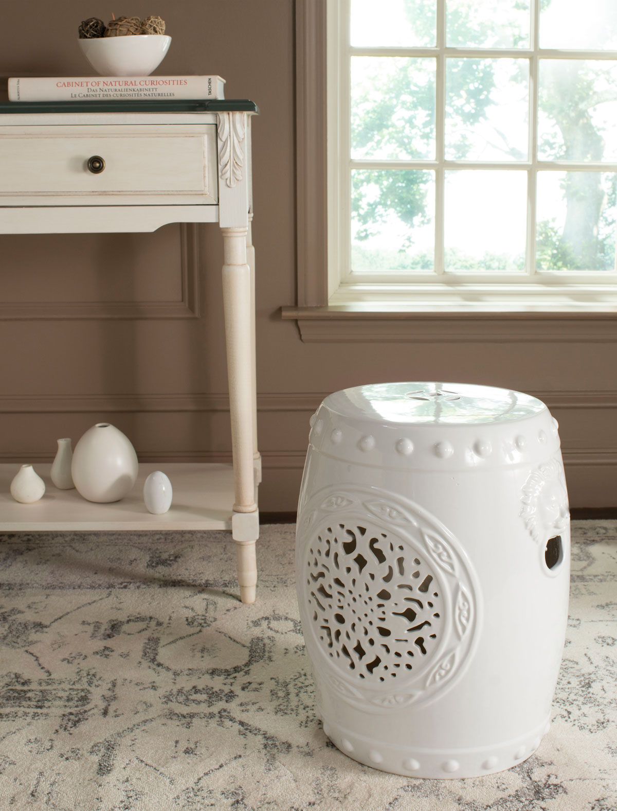 Global Influences Abound In The Dazzling White Glazed Ceramic Flower Drum  Indoor Outdoor Garden Stool. Classic Chinese Vessel Nailheads And A Lucky  Coin Top ...