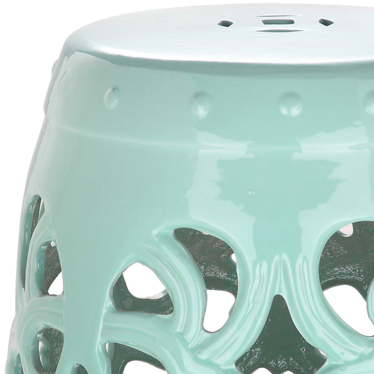 Perked Up In Pretty Light Blue, The Ages Old Motif Of The Imperial Vine  Indoor Outdoor Garden Stool Will Add Fashion Punch To Any Home.