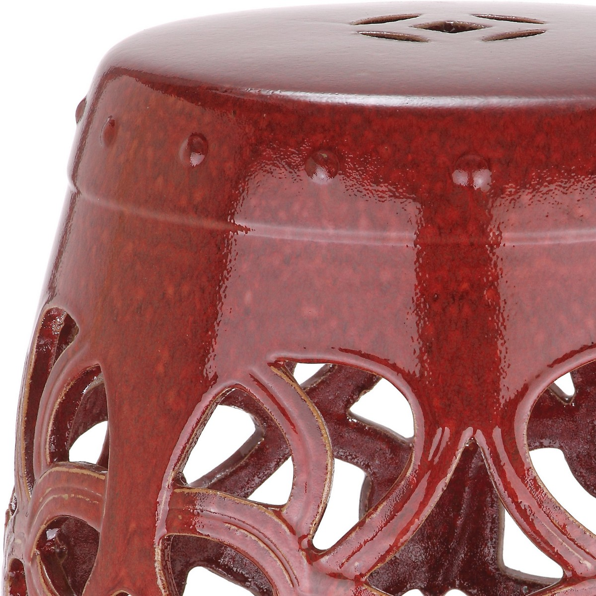 Perked Up In Elegant Antique Red, The Ages Old Motif Of The Imperial Vine  Indoor Outdoor Garden Stool Will Add Fashion Punch To Any Home.