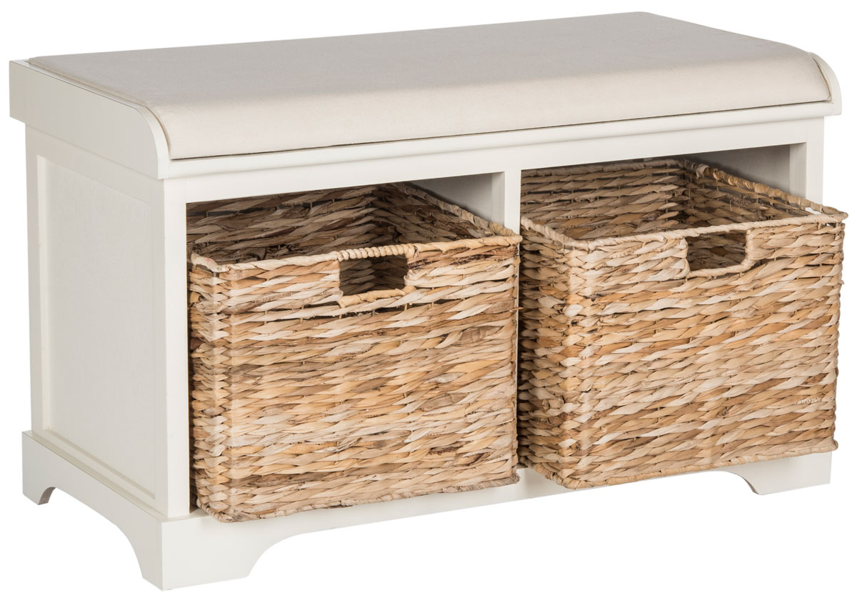 FREDDY WICKER STORAGE BENCH AMH5736D BENCHES. Color: Distressed White
