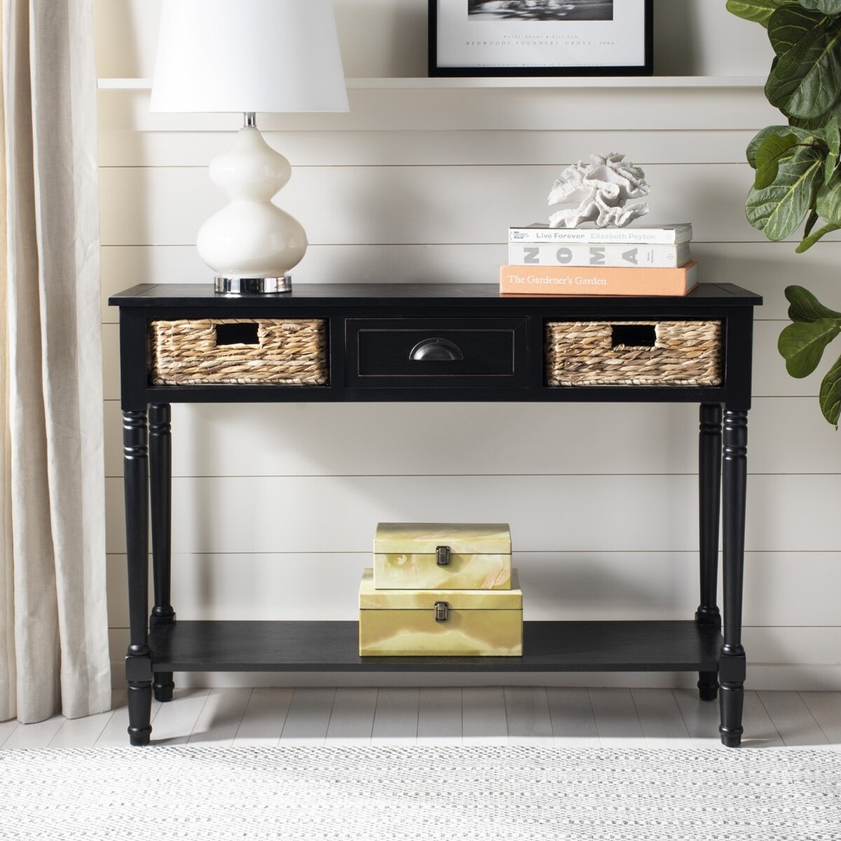 From Coastal Cottage To Rustic Lodge, This Pretty Vintage Distressed Black  Console Lends Welcoming Charm To An Entry Hall, And Makes A Wonderful Focal  Wall ...