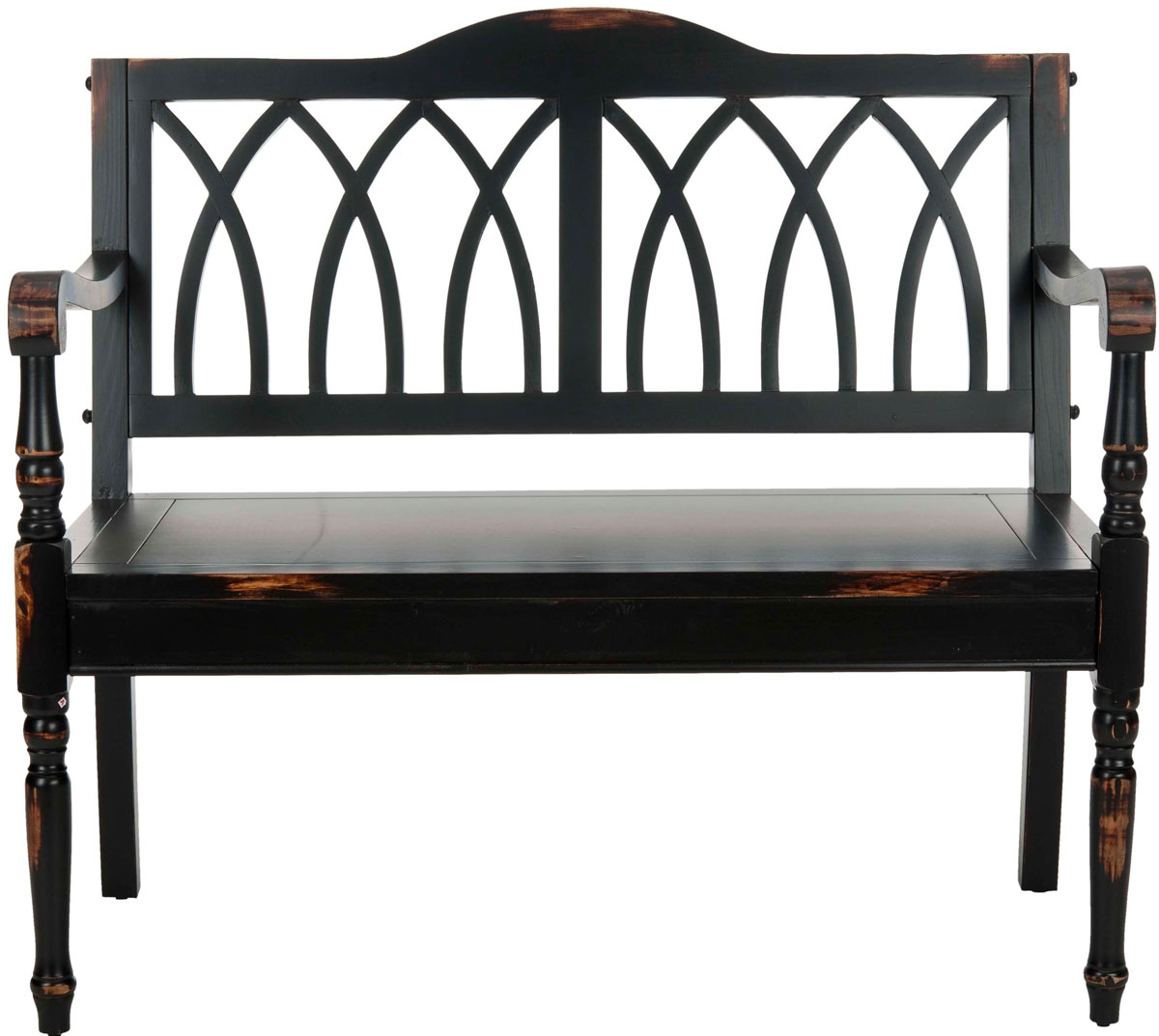 Elegant Finials On The Sides Under Arms And A Back Motif Inspired By Gothic Architecture Transform Distressed Black Benjamin Bench Into Striking