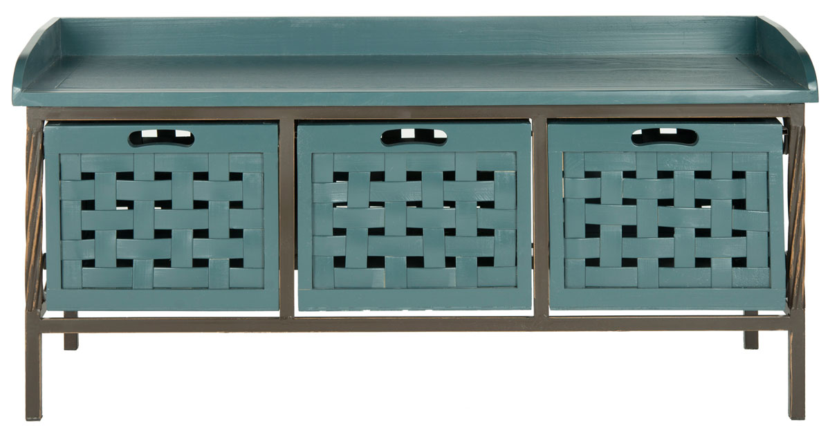 ... Storage Bench With Sturdy Pine Wood Seat In A Navy Blue Finish. Three  Wood Storage Bins With Cutout Fronts Allow You To See Where Youu0027ve Stowed  Excess ...