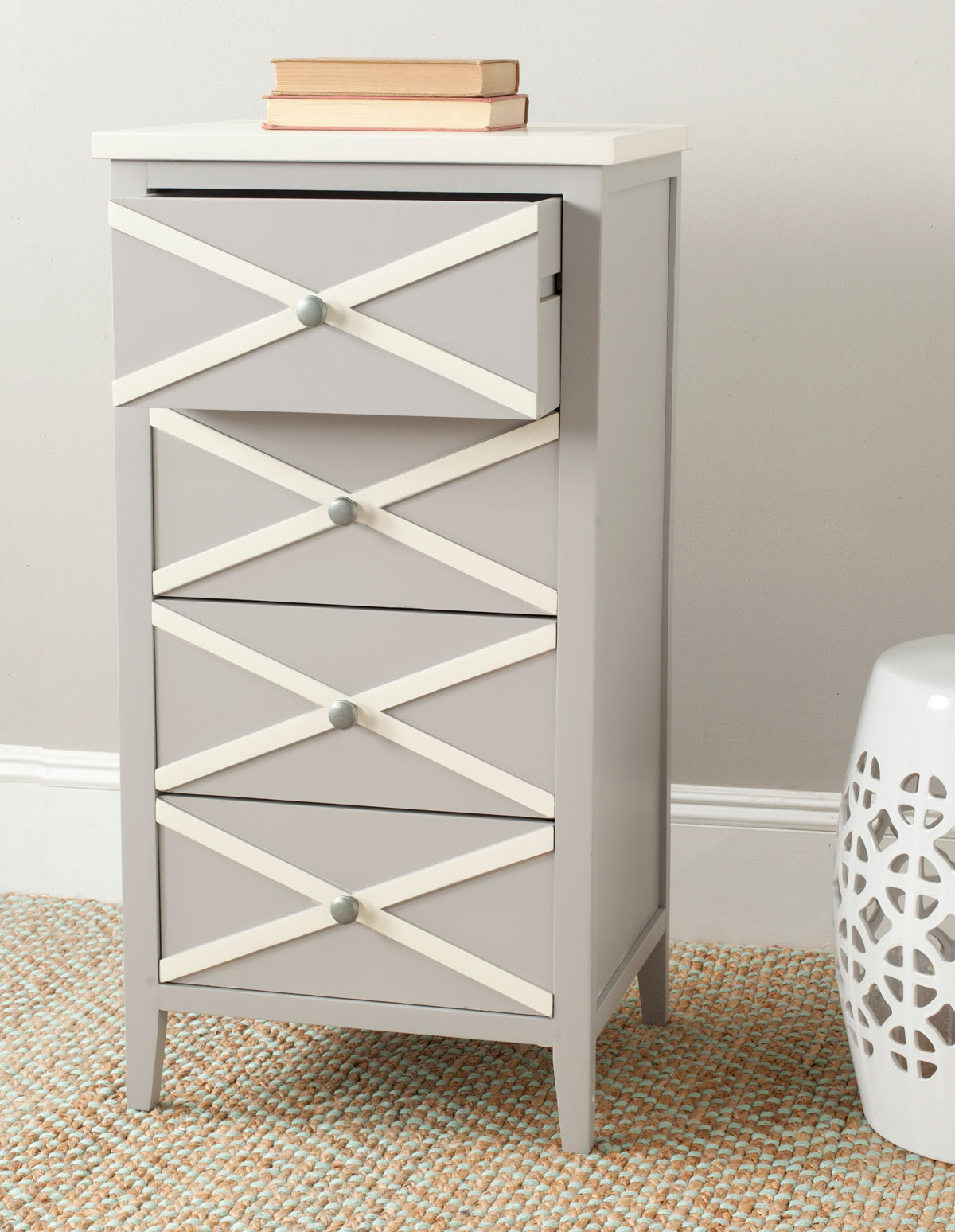 The French Charms Of The Sherrilyn 4 Drawer Accent Table Get Updated In A  Contemporary Color Palette, Shown Here In Grey Finished Poplar With A  Contrasting ...