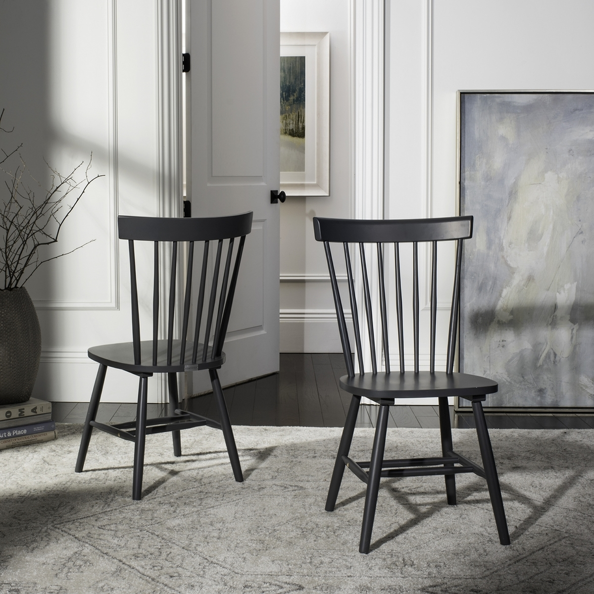Set of 2 Safavieh Home Parker Navy Blue Spindle Dining Chair