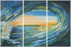 BLUE GROTTO TRIPTYCH WALL ART