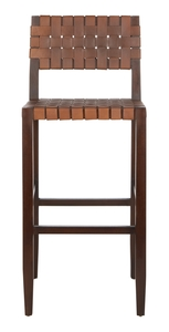Paxton Woven Leather Barstool Item Bst1002a Color Cognac