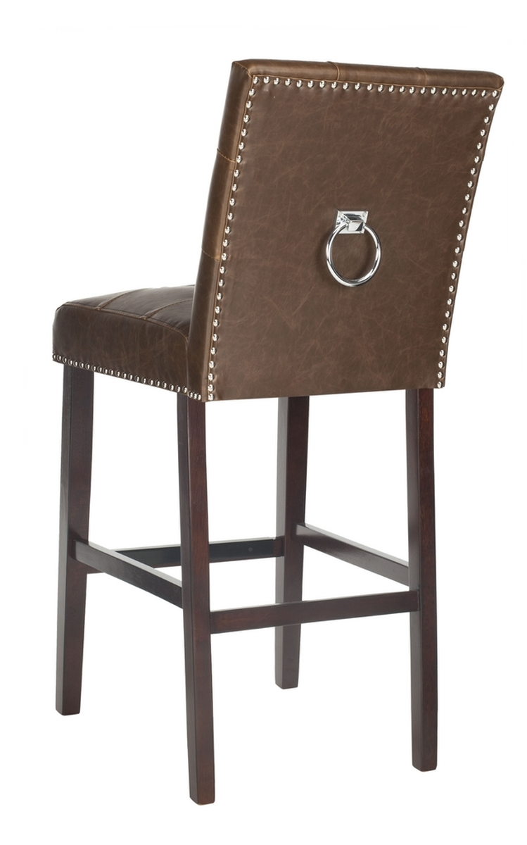 Take Home Entertaining To The Next Level With This Brown Modern Bar Stool Elegant And Tasteful Its Deluxe Tufted Leather Upholstery Polished Chrome