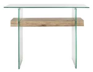 KAYLEY RECTANGULAR MODERN GLASS CONSOLE TABLE Item: CNS7001A Color: Clear /  Natural