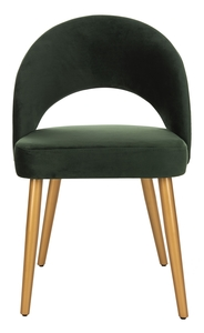 GIANI RETRO DINING CHAIR Item: DCH6201C SET2 Color: Malachite Green / Gold
