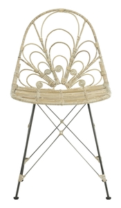MADELINE RATTAN DINING CHAIR Item: DCH6500A SET2 Color: White Wash / Dark  Steel
