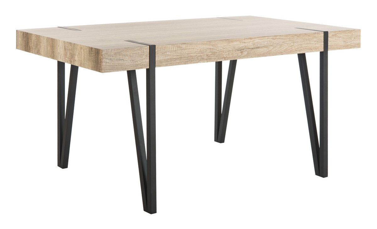 ... wood top dining table is food for the soul. Crafted with a warm canyon grey finish its black iron hairpin style legs create a contemporary heirloom ...  sc 1 st  Safavieh.com & DTB7000A Dining Tables - Furniture by Safavieh
