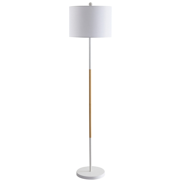 This Contemporary Floor Lamp Is A Sleek Addition To Any Living Room,  Bedroom, Or Home Office. Its Clean White Body And Warm Wood Finish Creates  The Perfect ...