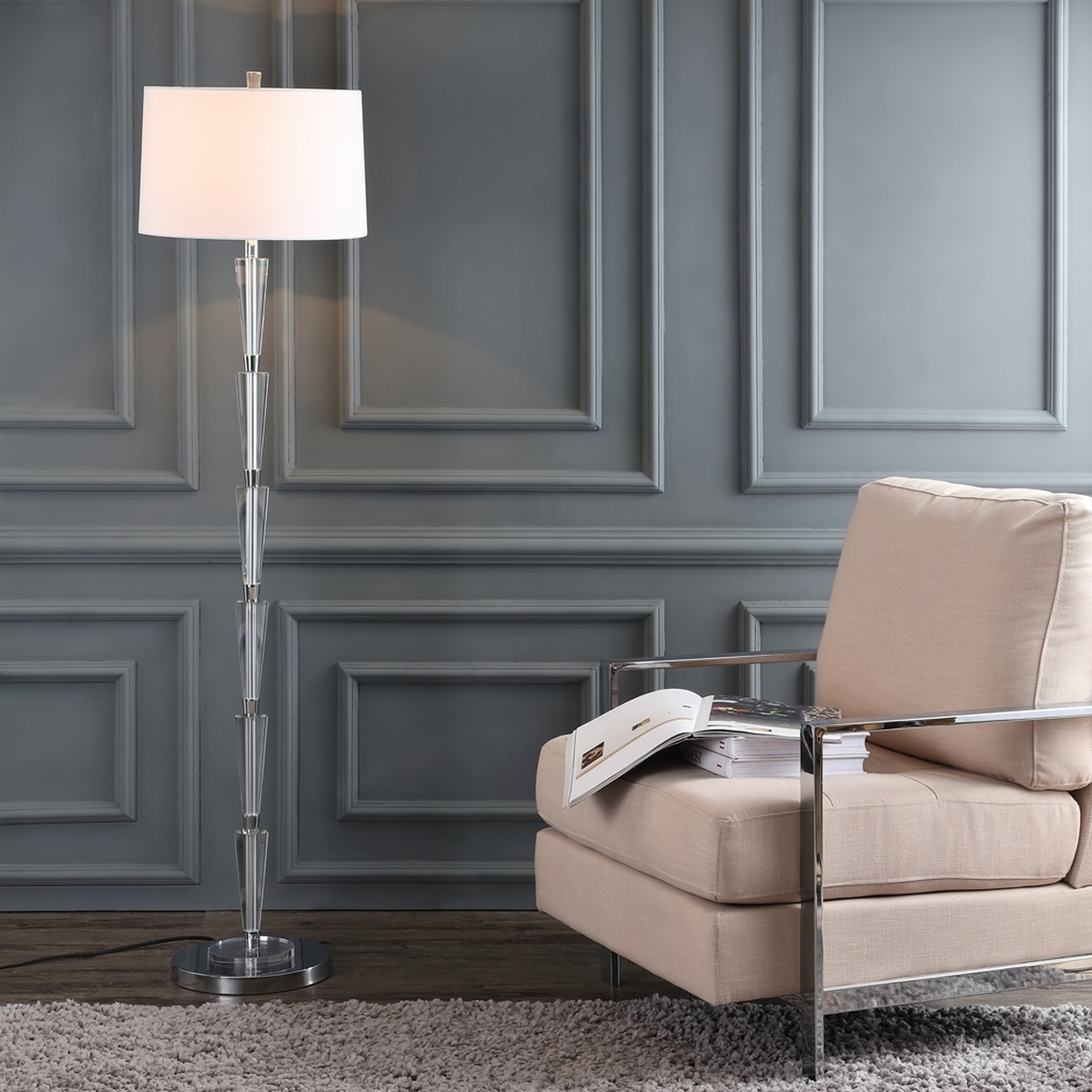 Instantly Upgrade Any Living Room With This Contemporary Floor Lamp And Complementary Off White Shade Inspired By The Glitz Glam Of Jazz Age