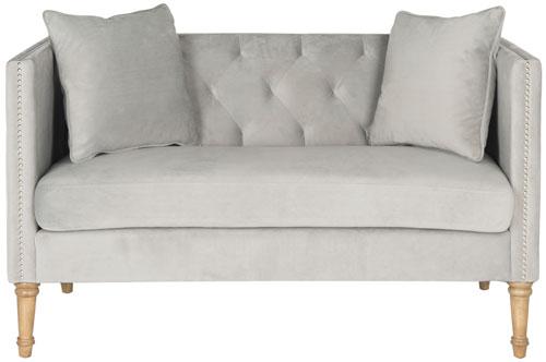 sofa dp velvet belleze bench pjyl com modern bedroom gray tufted room amazon settee loveseat button living