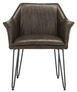 esme 19 inch h mid century modern leather dining chair item color dark brown