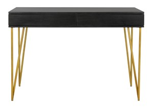 pine two drawer desk item fox2238b color black gold - Black Writing Desk