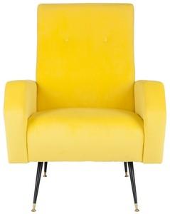 aida velvet retro mid century accent chair item fox6258a color yellow