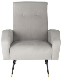 aida velvet retro mid century accent chair item fox6258b color grey