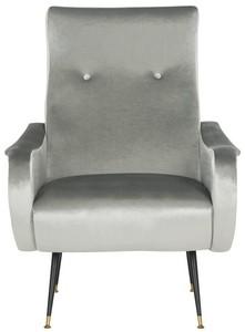 elicia velvet retro mid century accent chair item fox6260a color light grey