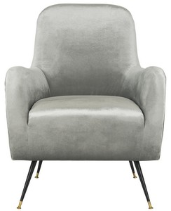 NOELLE VELVET RETRO MID CENTURY ACCENT CHAIR Item FOX6269A Color Light Grey  sc 1 st  Safavieh.com : white leather club chairs - Cheerinfomania.Com