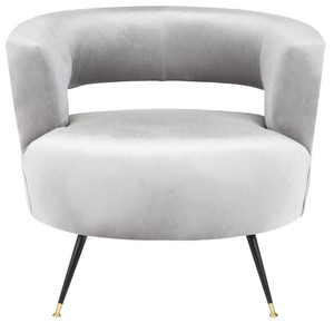 Incroyable MANET VELVET RETRO MID CENTURY ACCENT CHAIR Item: FOX6272B Color: Light Grey