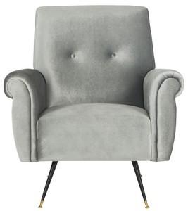 mira retro mid century velvet accent chair item fox6285b color light grey