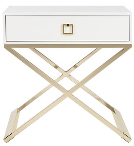 Beautiful ZARINA MODERN CROSS LEG END TABLE Item: FOX6295C Color: WHITE