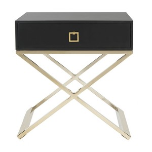 ZARINA MODERN CROSS LEG END TABLE Item: FOX6295D Color: Black