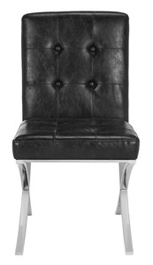 WALSH TUFTED SIDE CHAIR Item: FOX6300A Color: BLACK / CHROME