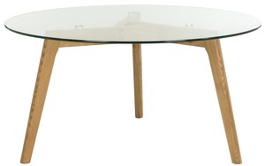 MARJORAM ROUND GLASS COFFEE TABLE Item: FOX8209A Color: CLEAR CLASS