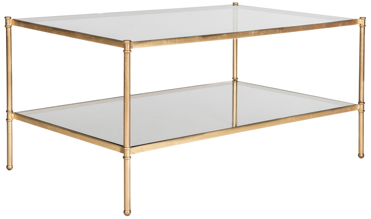 ... This Double Decker Coffee Table Provides Ample Space For Collectibles,  Drinks And Hors D?oeuvres. Crafted Of Glass And Iron With Antique Gold Leaf  ...