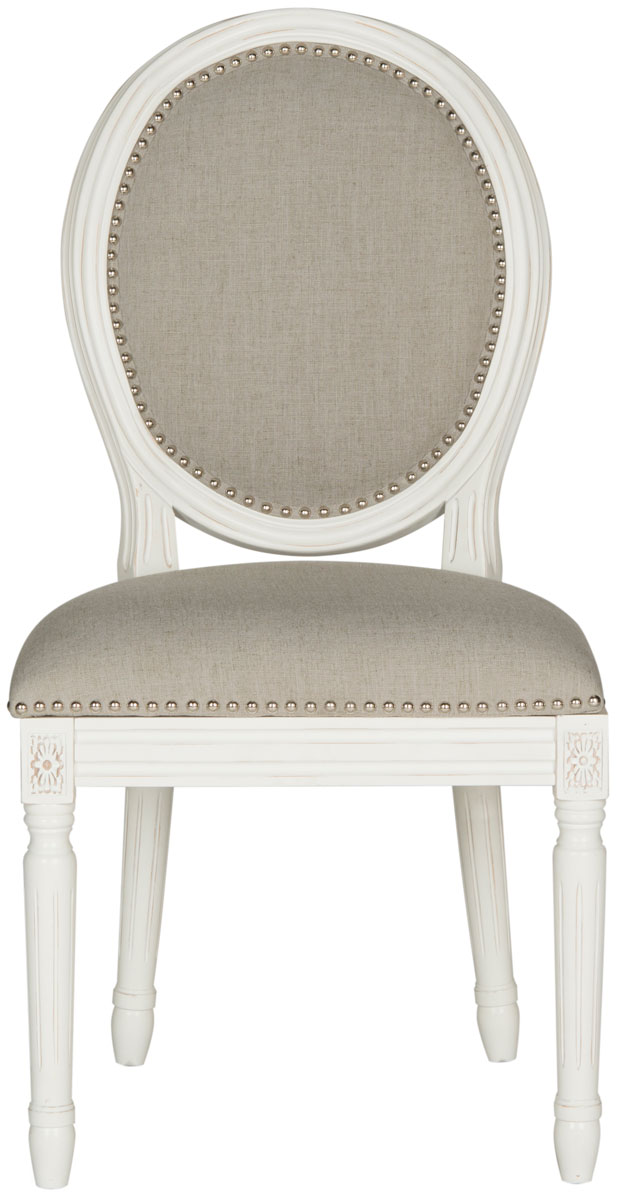 HOLLOWAY 19u0027u0027H FRENCH BRASSERIE LINEN OVAL SIDE CHAIR   SILVER NAIL HEADS  FOX6228D SET2 DINING CHAIRS