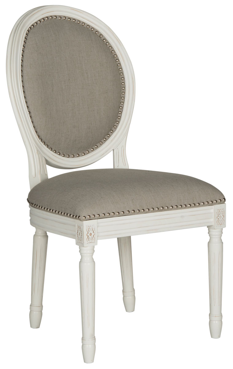 Holloway 19 H French Brasserie Linen Oval Side Chair Silver Nail Heads Fox6228d Set2 Dining Chairs