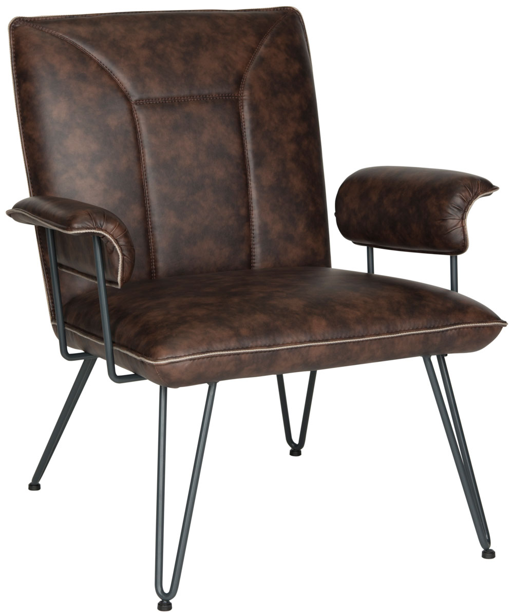 Brown Bicast Leather Armchair Safavieh Com