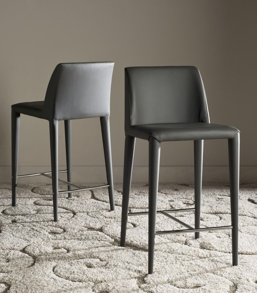 Counter Stools Set Of 2 Grey Leather Safavieh Com