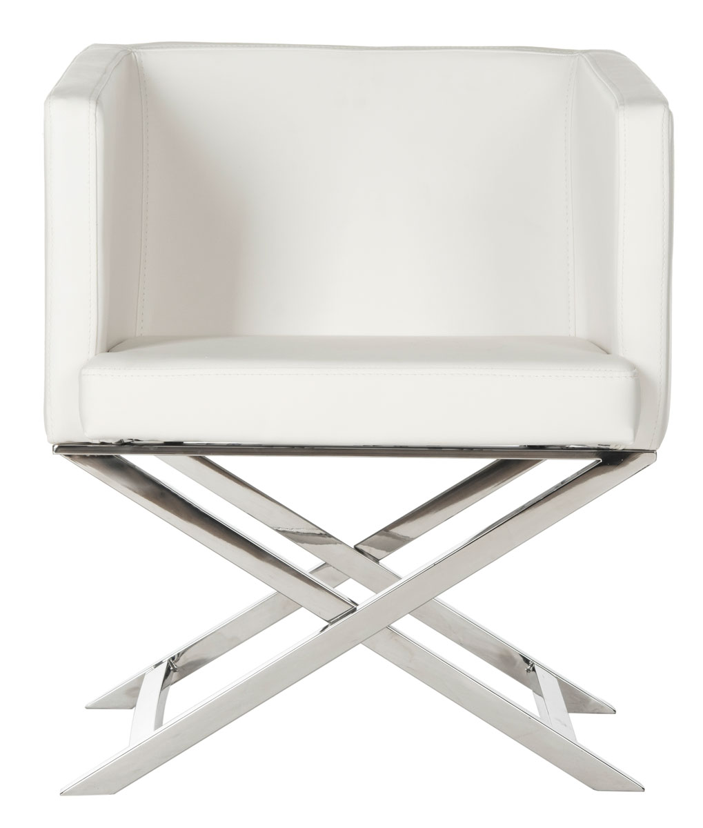 Celine Bonded Leather Chrome Cross Leg Chair Fox2033c Accent Chairs Color White Save