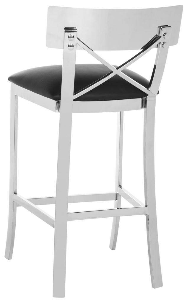 a favorite of architects this counter stool is an investment finished in brushed stainless steel its clean lines and cross back detail make
