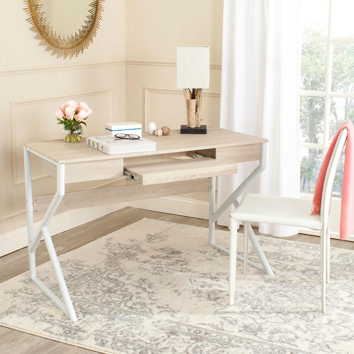 Desks Color Natural Top White Legs