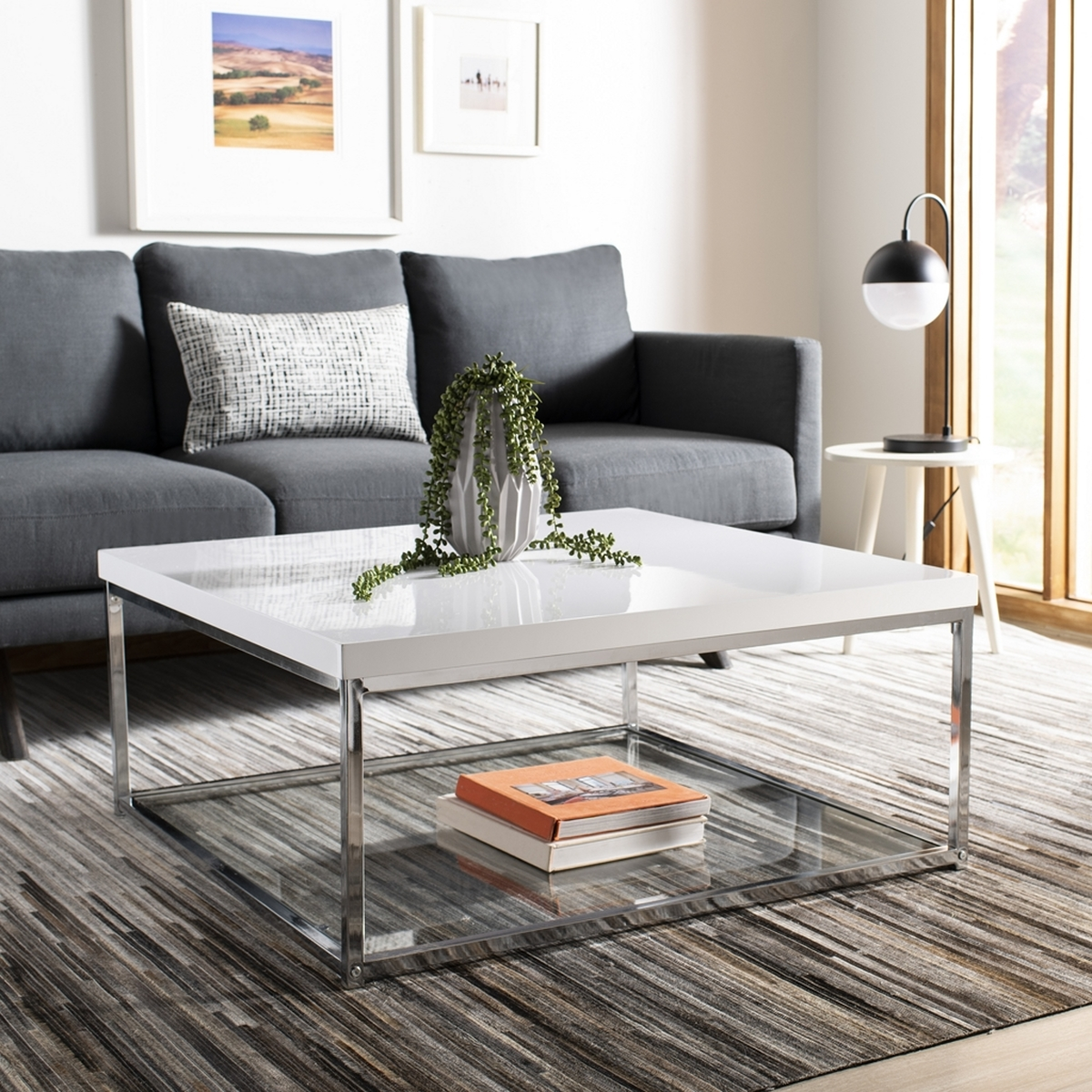 Fox2214a coffee tables furniture by safavieh malone chrome high gloss coffee table fox2214a coffee tables geotapseo Image collections