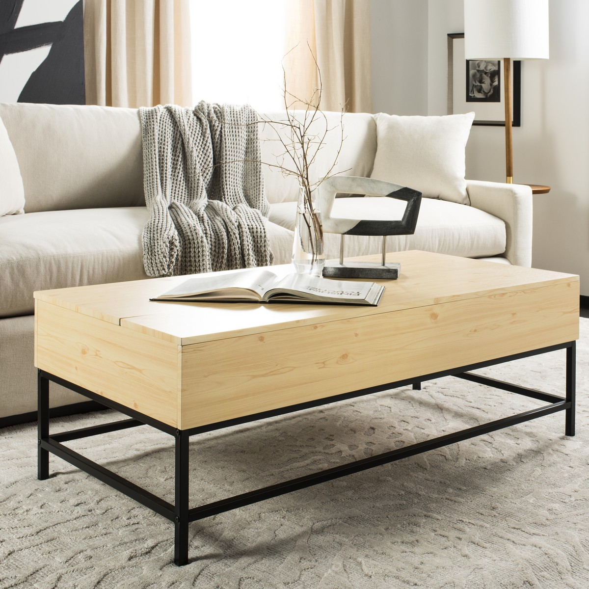 Crafted With A Light Oak Finish Its Easy Lift Top Makes Storage Breeze Clean Lines And Neutral Black Metal Legs Make It Endlessly Versatile