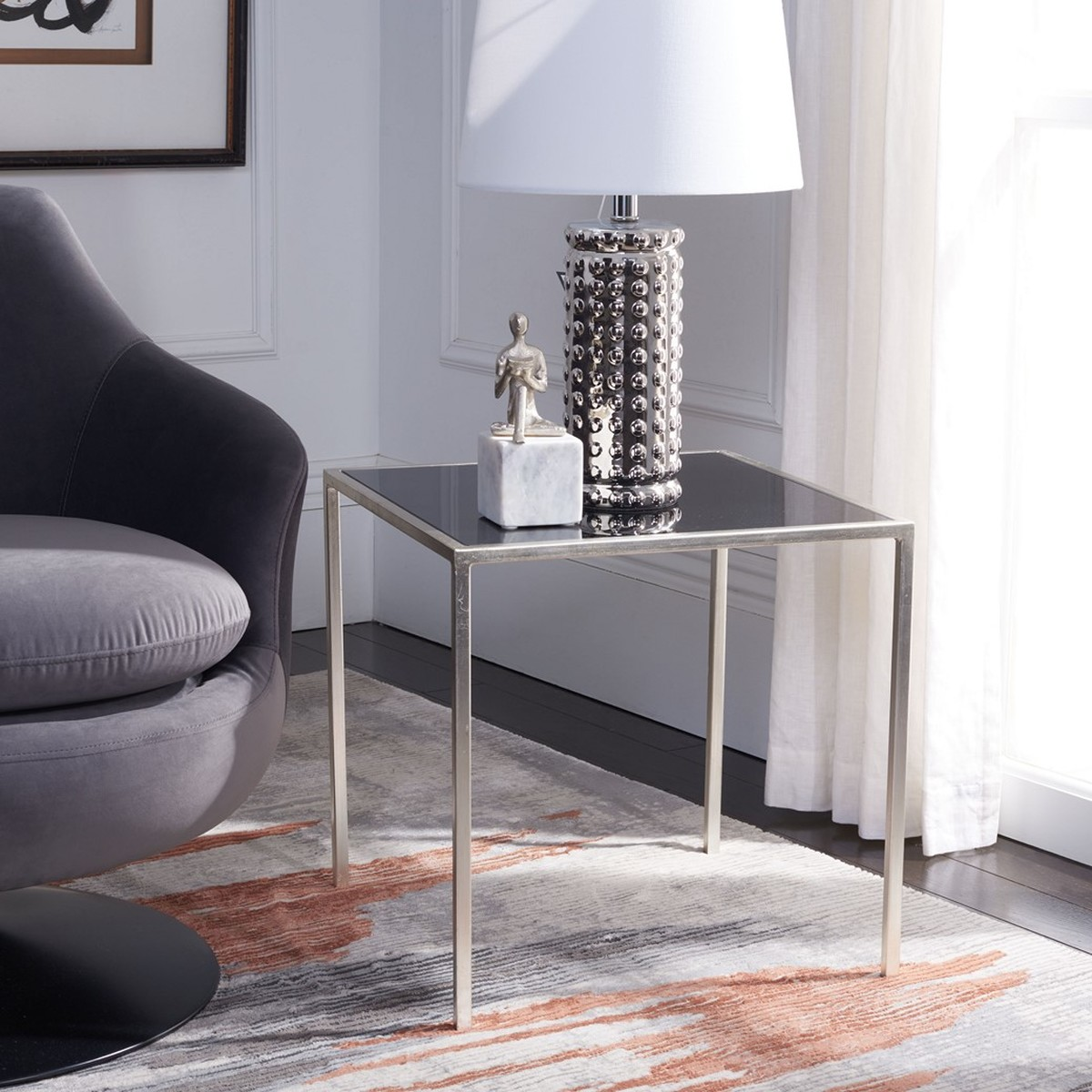 Crafted With A Silver Iron Base And Black Glass Tabletop, The Kiley Accent  Table?s Demure Style Brings Instant Elegance Without Overwhelming, ...