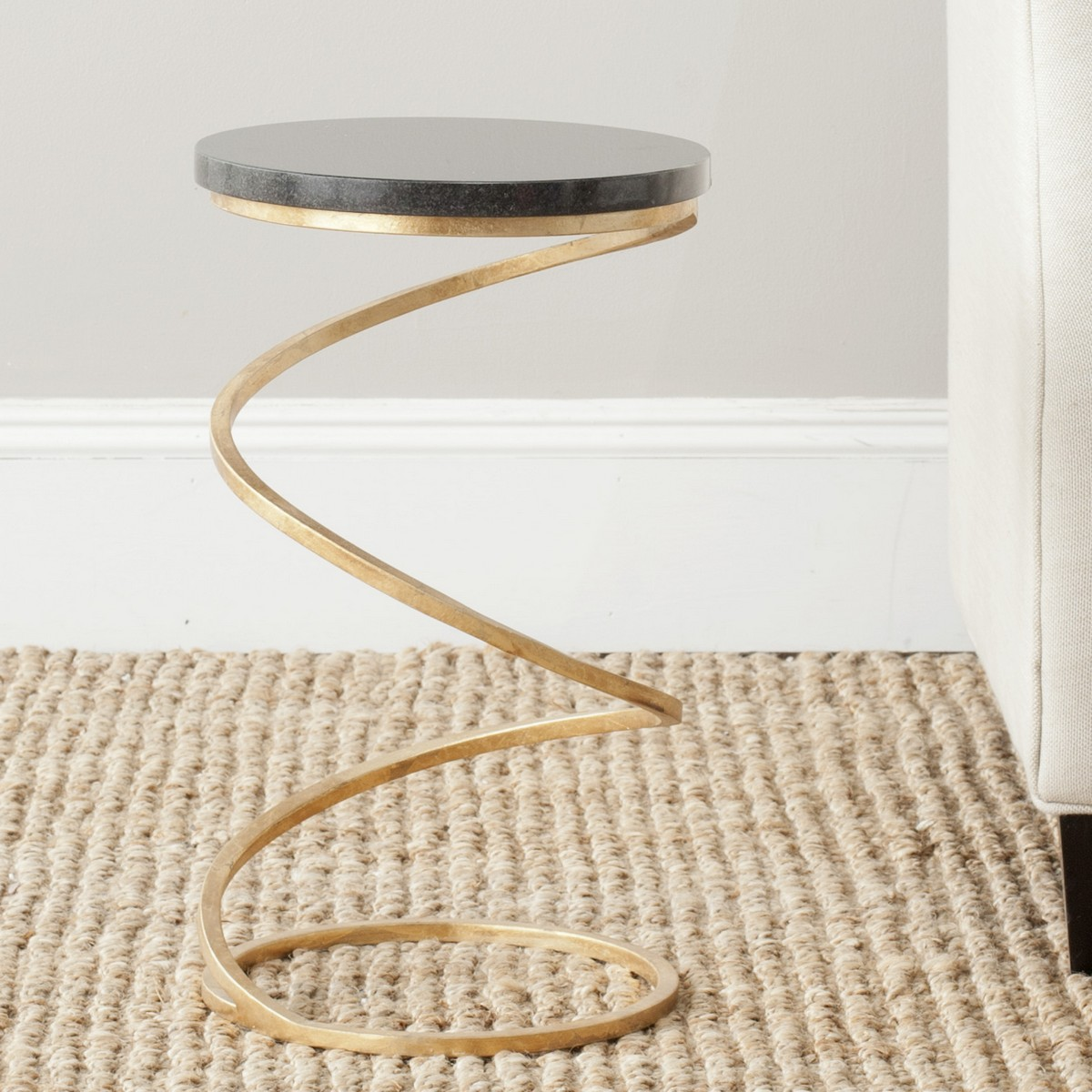 NEVINA SPIRAL BASE SILVER ACCENT TABLE FOX2538B Accent Tables. Color:  Gold/black Marble Top