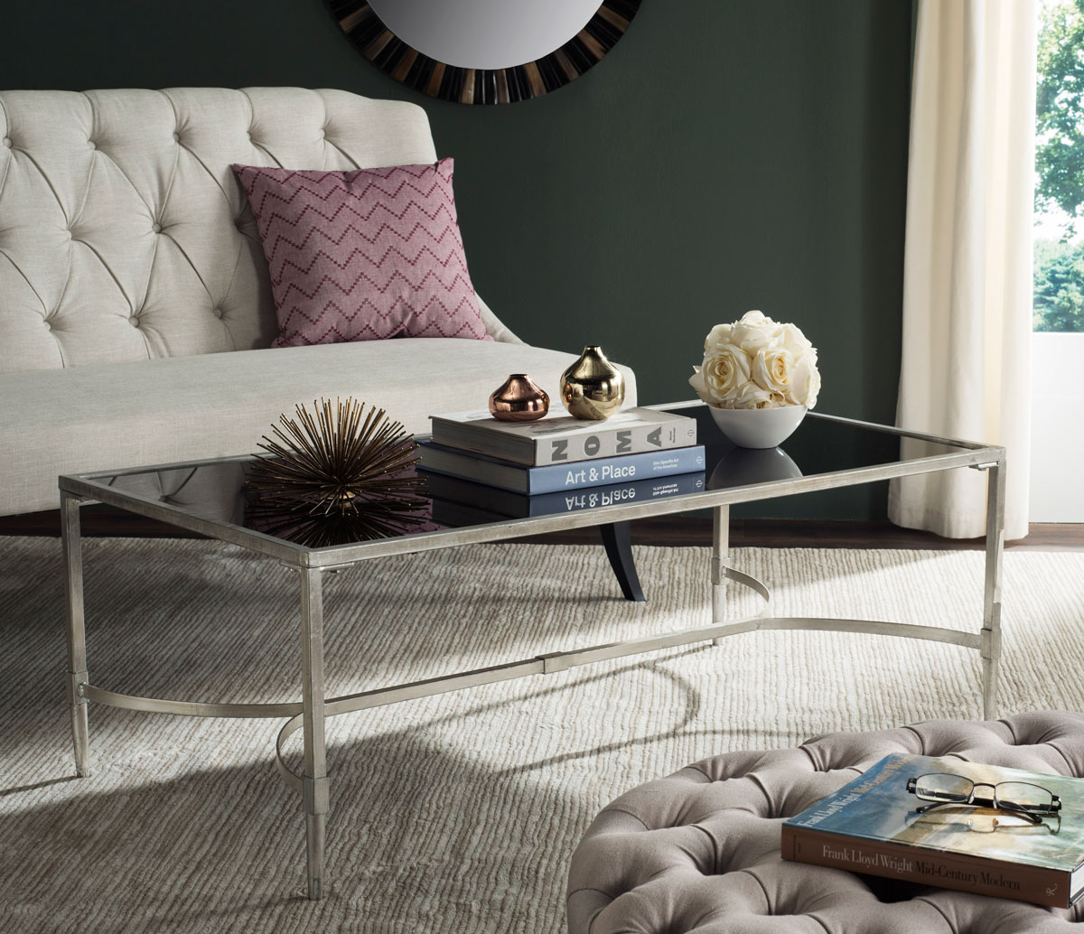 fabulous 1312 tea table living room furniture tempered glass | FOX2547B Coffee Tables - Furniture by Safavieh