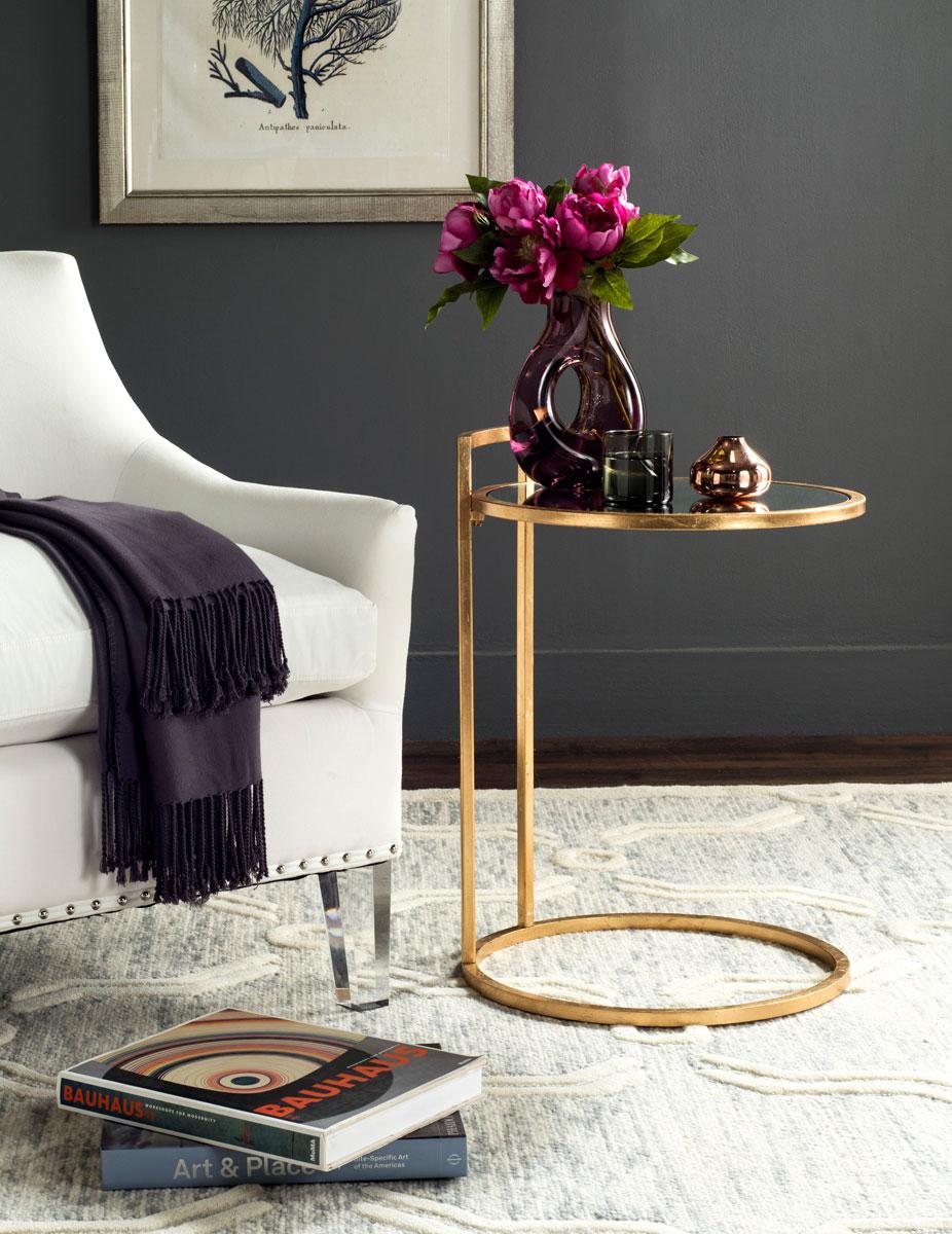 Calvin Round Gold Leaf End Table Design Fox2571a