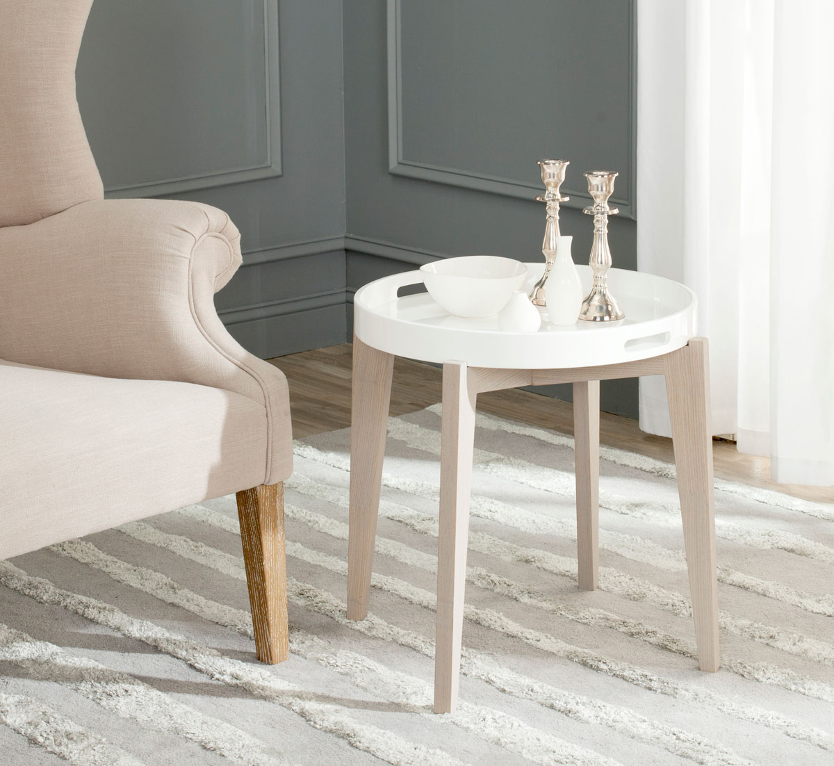 A Silent Butler For Your Home, The Ben Tray Table Is As Good Looking As It  Is Hard Working. A Removable White Lacquer Wood Tray Sits Atop A  Grey Washed Base ...